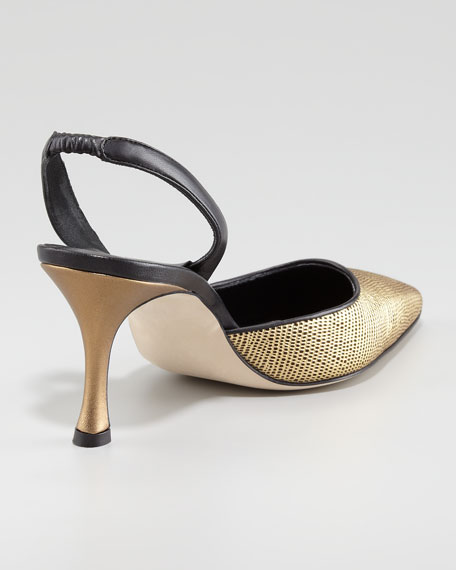Carolyne Fabric Mid-Heel Halter Pump