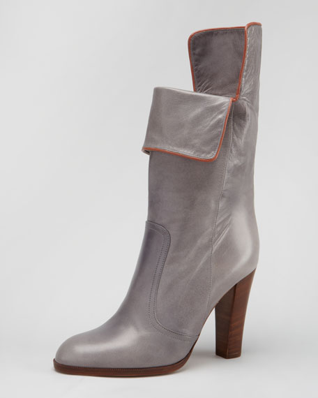 Fold-Over Mid-Calf Leather Boot