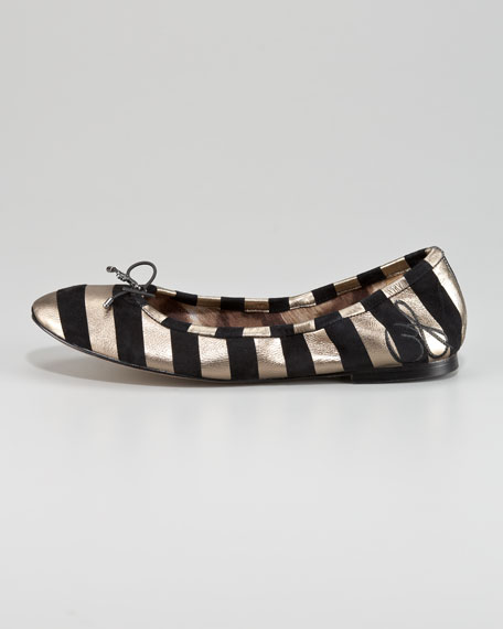 Felicia Striped Suede Flat