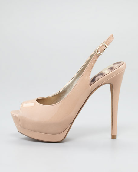 Penelope Slingback Peep-Toe Pump, Blush