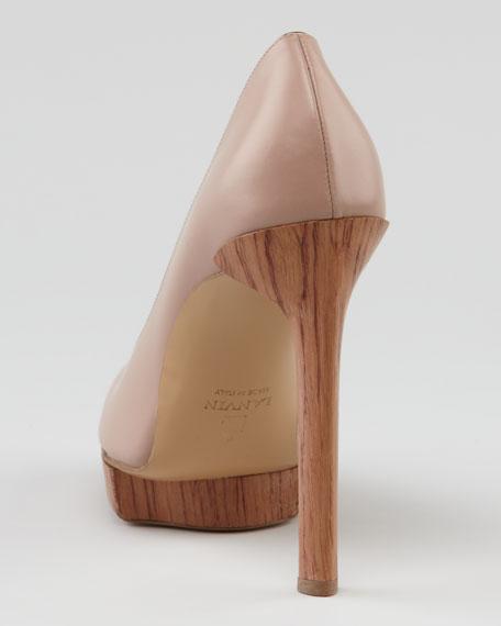 Wooden-Heel Calfskin Pump