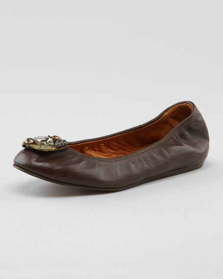 Jeweled-Toe Scrunched Leather Ballerina Flat