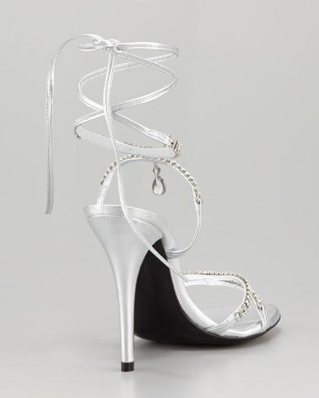 Milliona Jeweled Ankle-Wrap Sandal