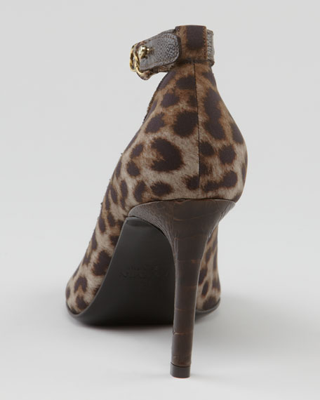 Ostrich-Trimmed Leopard Canvas Pump