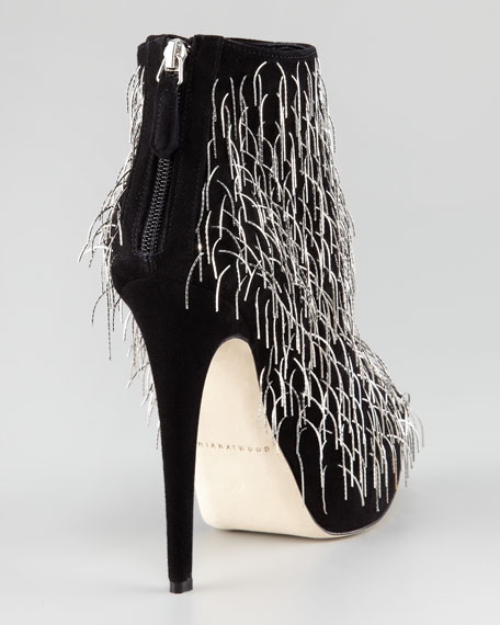 Twinkle Chain-Fringe Suede Bootie