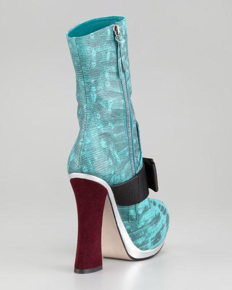 Faux-Lizard Mid-Calf Boot