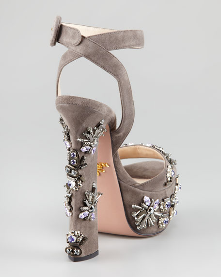 Jeweled Suede Sandal