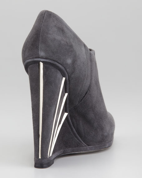Crop Metallic-Trim Wedge Bootie