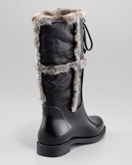 Rebooting Faux-Fur-Trimmed Rain Boot
