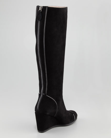 Darius Suede Wedge Knee Boot, Black