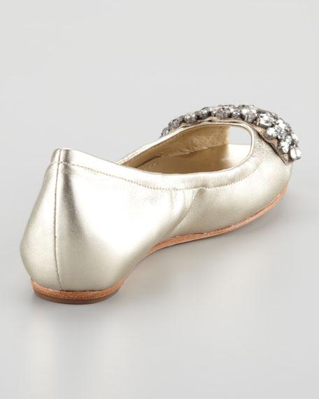 Luna Bejeweled Peep-Toe Ballet Flat