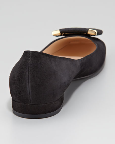 Wrapped-Buckle Suede Ballerina Flat