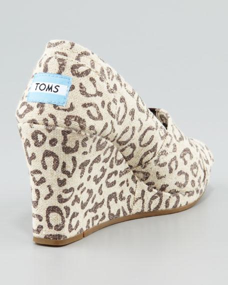 2a31c386cc23 TOMS Snow Leopard Peep-Toe Wedge