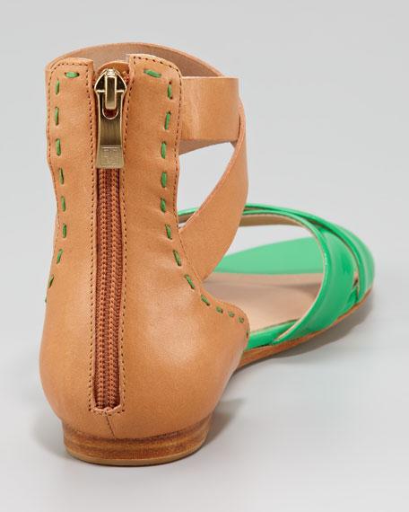 Fabia Two-Tone Flat Sandal, Green