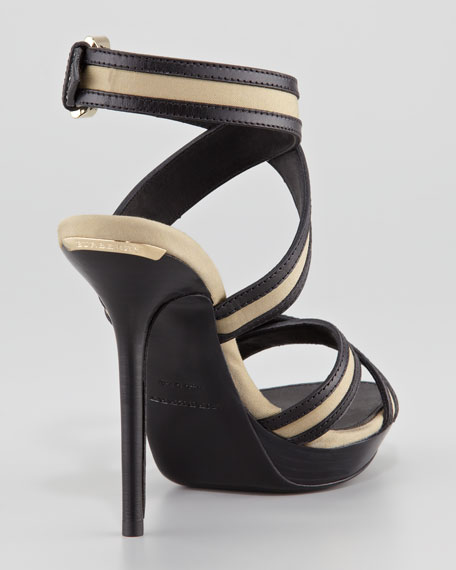 Strappy Cotton and Leather Platform Sandal