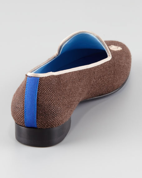 Audrey Linen Smoking Loafer, Chocolate/Tan