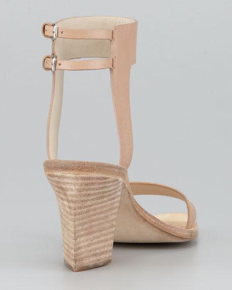 Ariel Hooded Mid-Heel Sandal, Almond