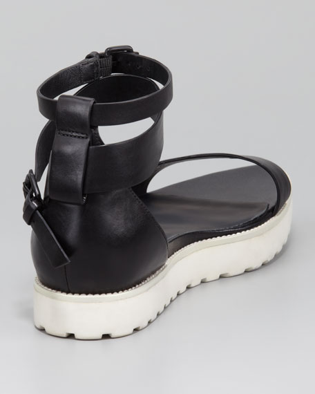 Jade Leather Sandal, Black