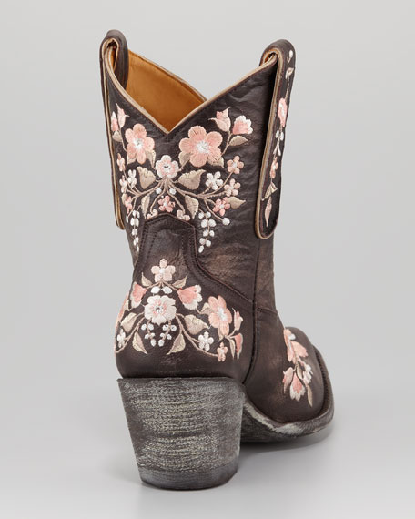 Sora Floral Embroidered Cowboy Bootie, Chocolate