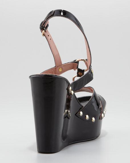 Patent Leather Slingback Platform Wedge, Black