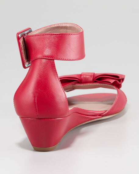 Calfskin Low-Wedge Sandal, Cherry