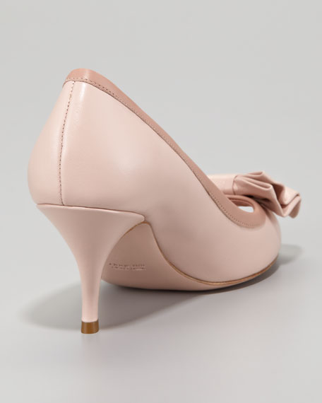 Calfskin Peep-Toe Bow Pump, Light Pink/Cammeo