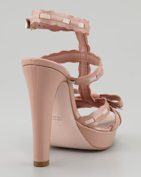 Topstitched Patent Leather Bow Sandal