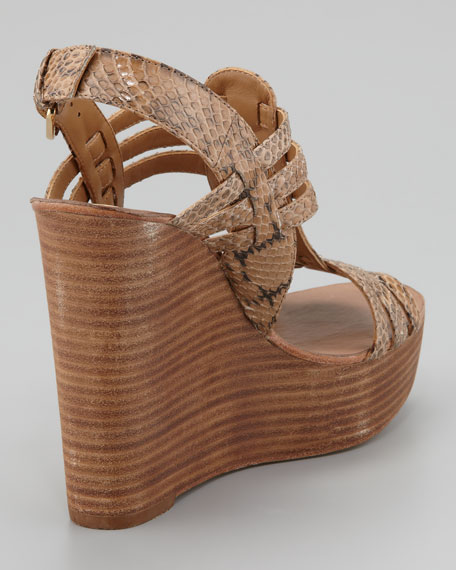 Leslie Snake-Print Wedge Sandal