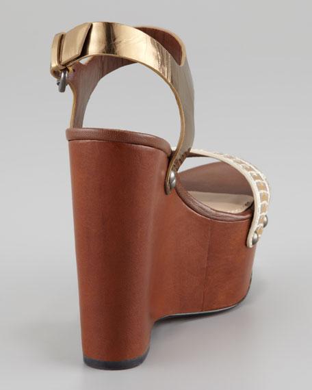 Jamaya Metallic Snake Wedge Sandal