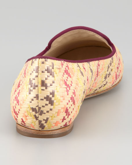 Hurley Raffia Smoking Slipper, Pink/Multicolor