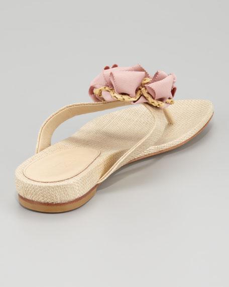 Blaine Woven Raffia Thong Sandal, Natural