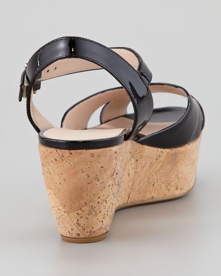 My Sunset Patent Cork Wedge Sandal, Black