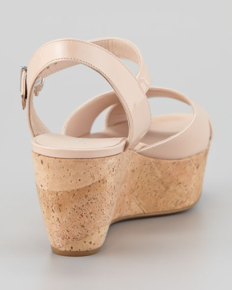 My Sunset Patent Cork Wedge Sandal, New Bisque