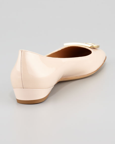 Sanna Gancini-Toe Ballerina Flat, New Bisque
