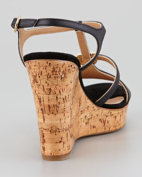 Savita Cork Wedge Sandal, Black