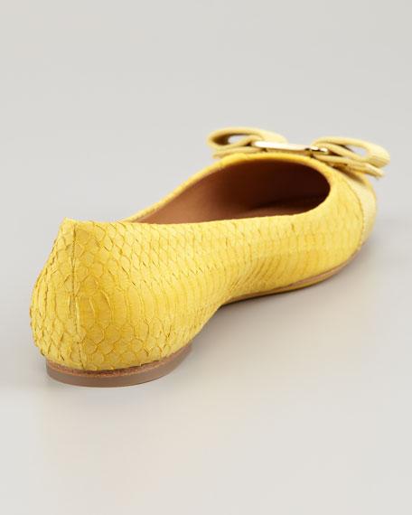 Varina Bow Snakeskin Flat, Yellow