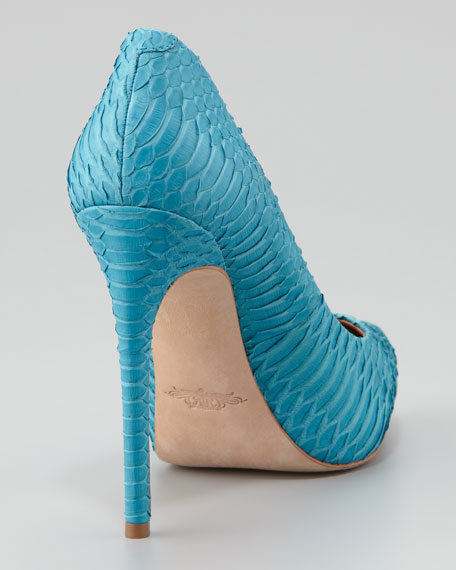 Watersnake Pointed-Toe Pump, Capri Blue