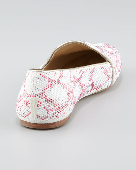 Studded Smoking Slipper, White/Silver
