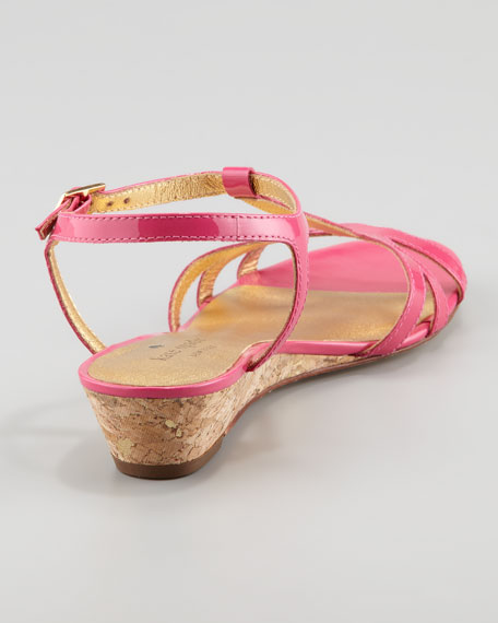violet cork wedge sandal, pink