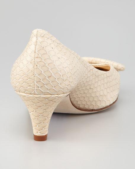 simon snake-print kitten-heel pump, beige