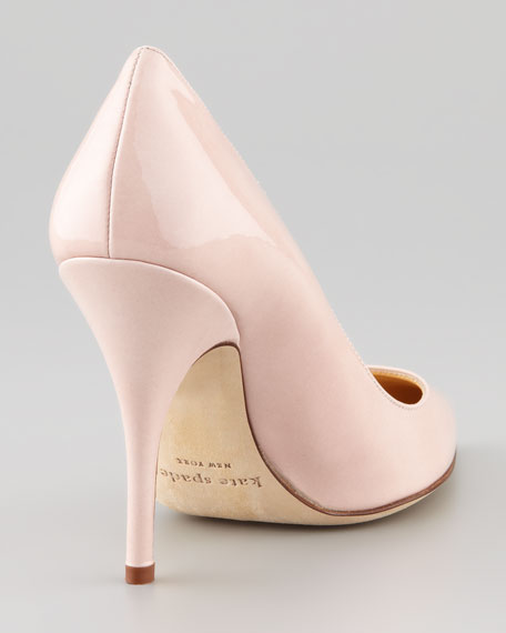 licorice patent pointed-toe pump, pale pink