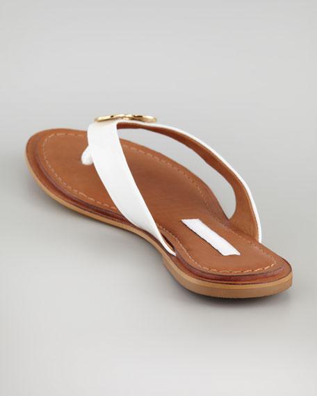 Kyra Patent Heart-Lock Flat Thong, White