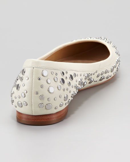 Ara Studded Pointed-Toe Skimmer Flat, White