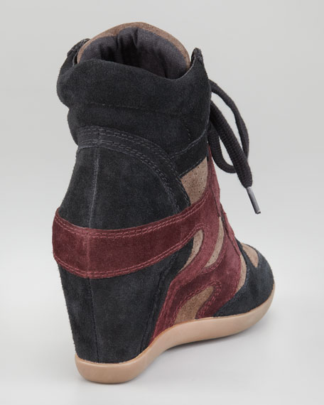 Suede Wedge Sneaker, Bordeaux/Black