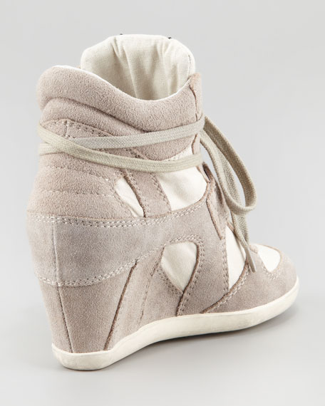 Bowie Suede & Canvas Wedge Sneaker, Clay