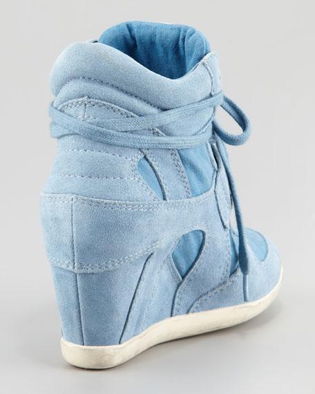 Suede & Canvas Wedge Sneaker, Denim