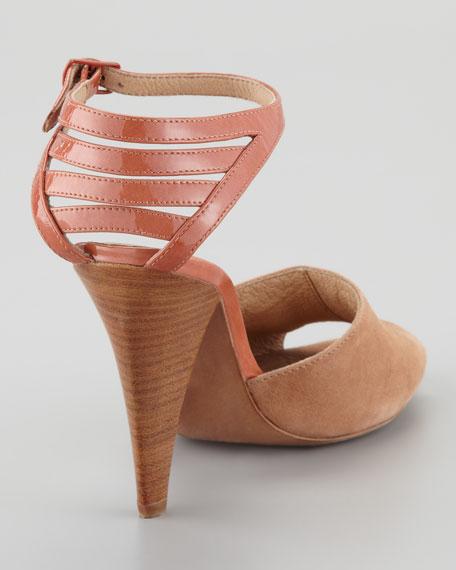 Cage-Counter Peep-Toe Sandal, Tan
