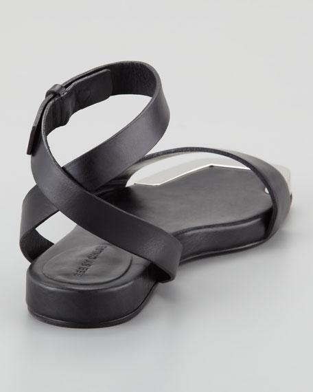Metal-Toe Flat Sandal, Black