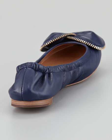Zipper-Bow Scrunch Ballerina Flat, Navy