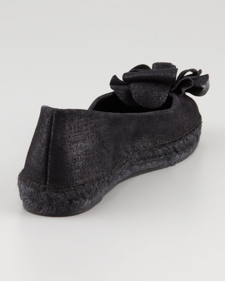 Maria Shimmery Espadrille Flat, Black